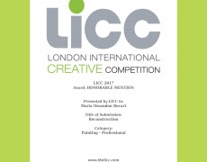"Mención Honrosa en LICC London International Creative Competition con mi Trabajo ""Reconstrucción"""